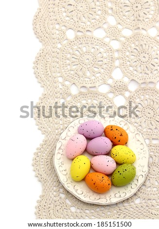 easter eggs on beautiful napkin