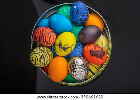 Easter eggs on black background.