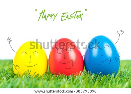 Easter Eggs on Fresh Green Grass over white background - stock photo