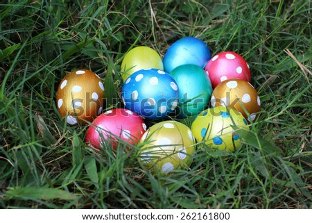 Easter eggs on green grass.