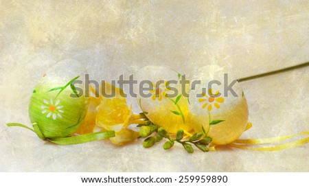 Easter eggs on grunge vintage background - stock photo