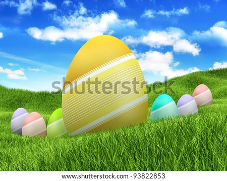 Easter eggs on spring nature background
