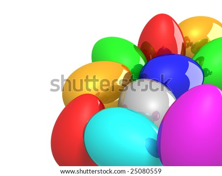 Easter eggs on white background - stock photo