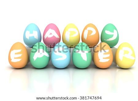 Easter Eggs on white - Stock image - stock photo