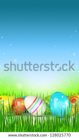 Easter eggs over blue background - stock photo