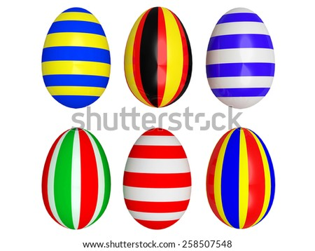 Easter eggs painted in the colors of the national flags of countries isolated on white background - stock photo