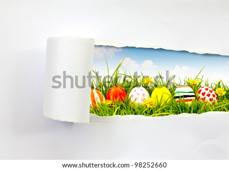 Easter eggs scene saw from ripped paper - stock photo