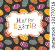 Easter eggs seamless pattern on wooden planks. Raster version, vector file available in portfolio. - stock photo