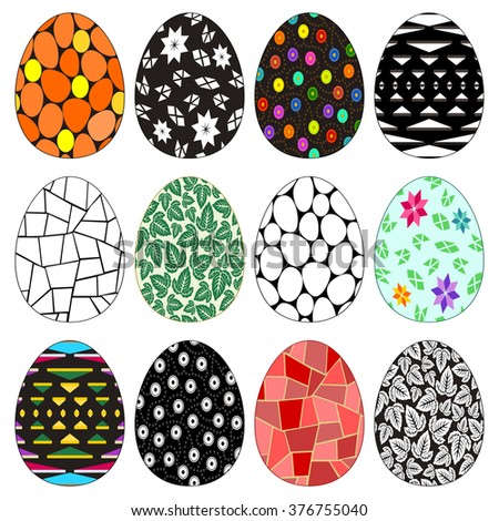 Easter eggs - Twelve colorful and monochrome Easter eggs with decorative patterns for egg hunt. Isolated on white. Vector version in portfolio. - stock photo