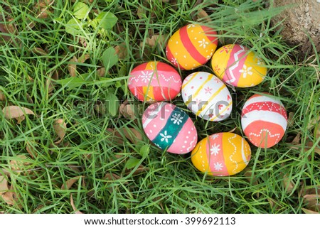 easter eggs under tree