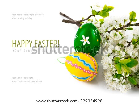 Easter eggs with blooming branch. Isolated on white background. Illustration - stock photo