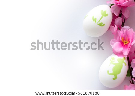 Easter eggs with cherry blossom background
