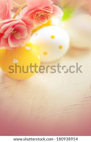 Easter eggs  with flowers - stock photo