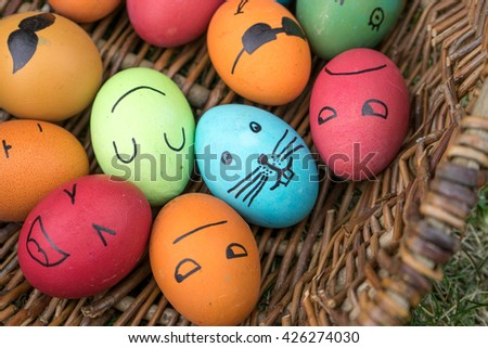 Easter eggs with funny faces painted / Easter / Easter