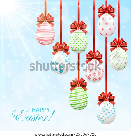 Easter eggs with red bow on sunny background, illustration. - stock photo