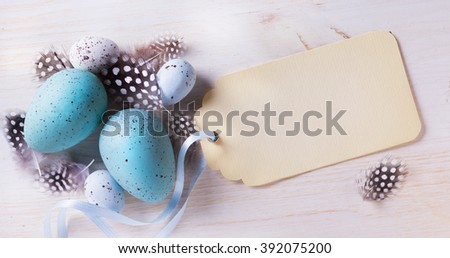 Easter festive background with easter eggs easter on the table - stock photo