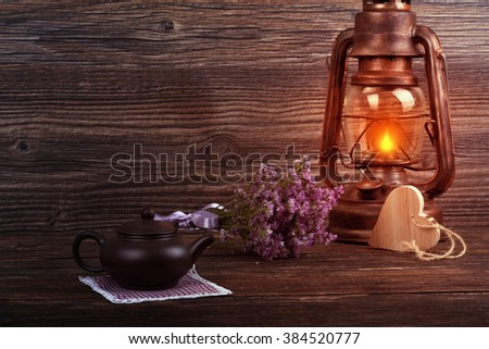Easter festive decorations for meal on wooden background