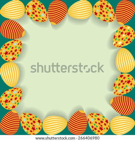 Easter frame with painted eggs. Rasterized version. - stock photo