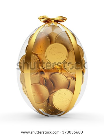 Easter gift glass easter egg full stock illustration 370035680 easter gift glass easter egg full of golden coins isolated on white background negle Image collections