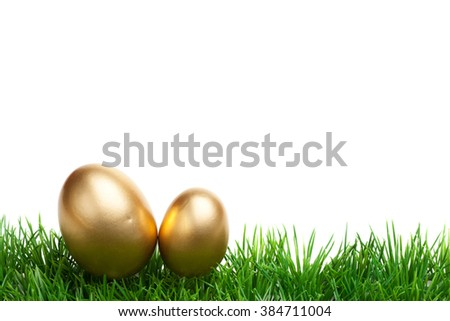 Easter Grass border, isolated on white, with two gold eggs - stock photo