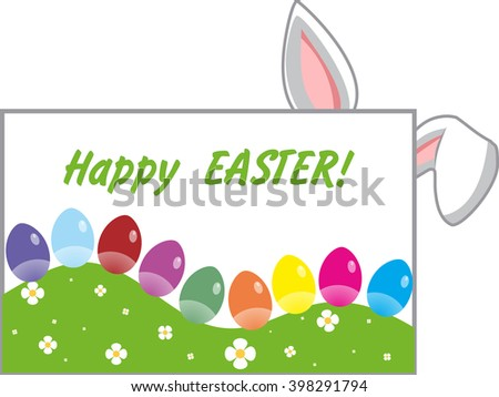Easter greeting card with colorful eggs and bunny ears - stock photo