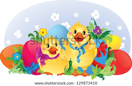 Easter greeting card with ducklings, flowers, ribbons and eggs. - stock photo