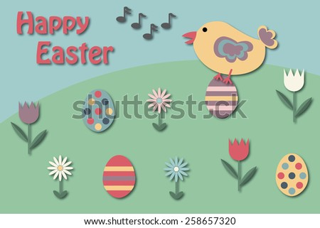 Easter greeting card with singing bird on an Easter egg - stock photo
