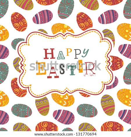 Easter greeting on seamless eggs pattern. Raster version, vector file available in portfolio.