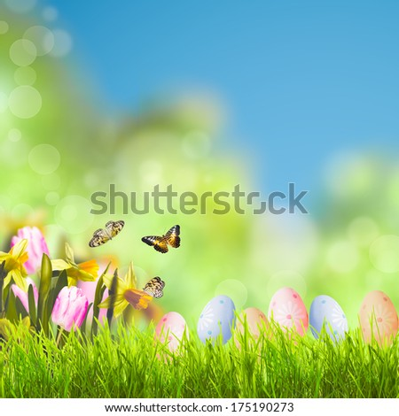 Easter greetings with grass over spring bokeh and sunlight