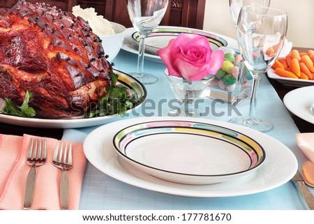 Easter ham dinner - stock photo