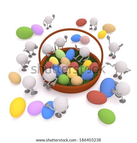 Easter / Happy Easter / Easter eggs / Easter egg hunt / Easter basket / Easter spring - stock photo