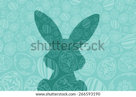 Easter Holiday Background with Eggs and Rabbit Shadow - stock photo