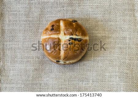 Easter hot cross bun  - stock photo