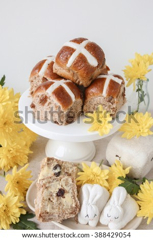 Easter Hot cross buns on cake stand, selective focus - stock photo