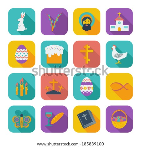 Easter Icons. Color flat illustration.  - stock photo