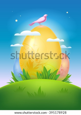 Easter illustration with morning landscape and eggs, rasterized version. - stock photo