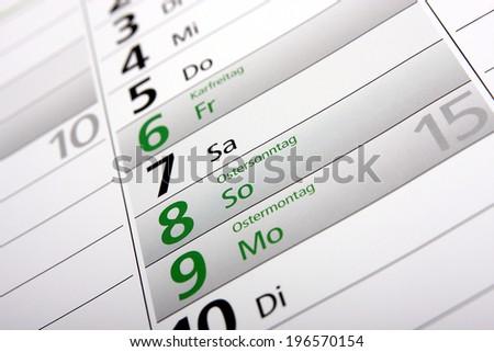 easter in a german calendar - stock photo