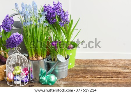 Easter in garden - eggs in birdcage and rabbit with flowerpots, copy space on wooden table  - stock photo