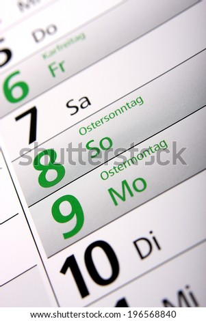 easter in the german calendar - stock photo