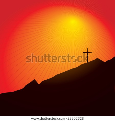 Easter inspired illustration of a cross on a mountain side at sunset