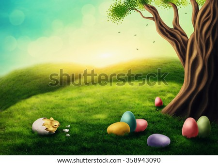 Easter landscape with chicken and colorful eggs - stock photo