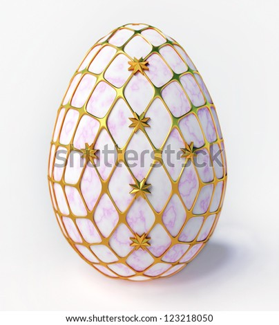Easter - marble egg in gold incrustation - stock photo