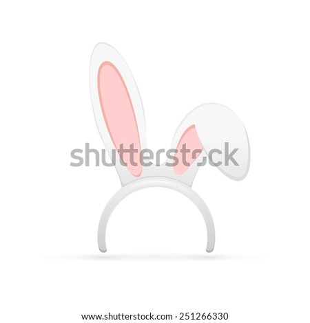 Easter mask with rabbit ears isolated on white background, illustration. - stock photo