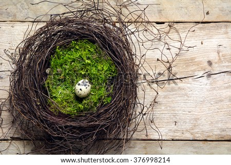 easter nest of twigs and green moss with a lonely quail egg on rustic wooden planks, view from above with copy space - stock photo
