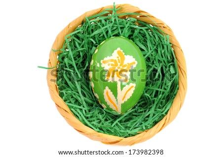 Easter nest with painted egg