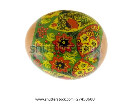 Easter painted egg covered by lacquer and ornamented by miniature painting which is orgin from the Russian art. Isolated over white background