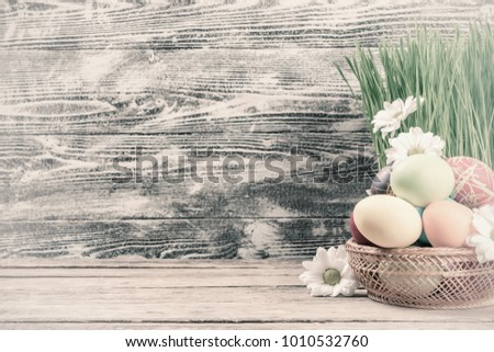 Easter Painted Eggs And Flowers On Wooden Rustic Table Vintage Holiday Wallpaper