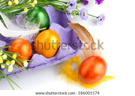 easter painted eggs in violet tray,   flowers and colorful feather on white background