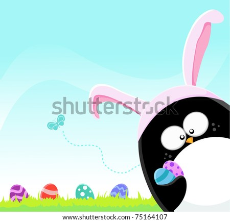 Easter Penguin With Eggs
