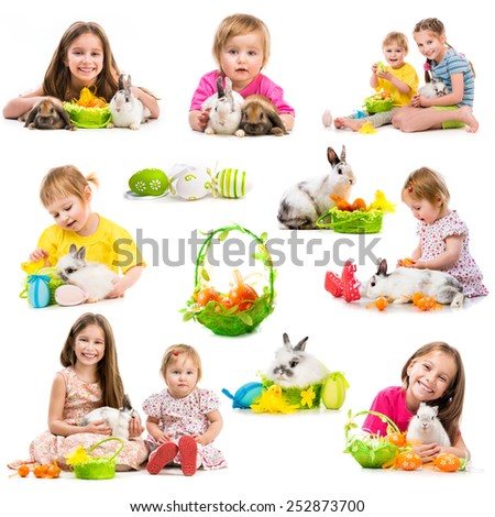 easter photo collection of children with rabbits on a white background - stock photo